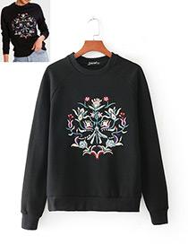 Fashion Black Flower Pattern Decorated Long Sleeves Hoodie