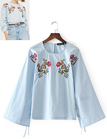 Fashion Blue Embroidery Flower Decorated Long Sleeves Blouse