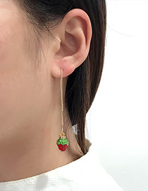Fashion Red Strawberry Pendant Decorated Long Earrings