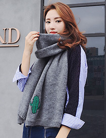 Trendy Gray Cactus Pattern Decorated Thicken Scarf