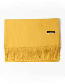 Trendy Yellow Tassel Decorated Pure Color Scarf