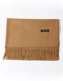 Trendy Coffee Tassel Decorated Pure Color Scarf