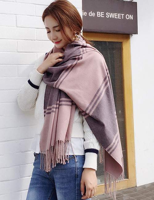 Fashion Pink+gray Stripe Pattern Decorated Dual Use Scarf