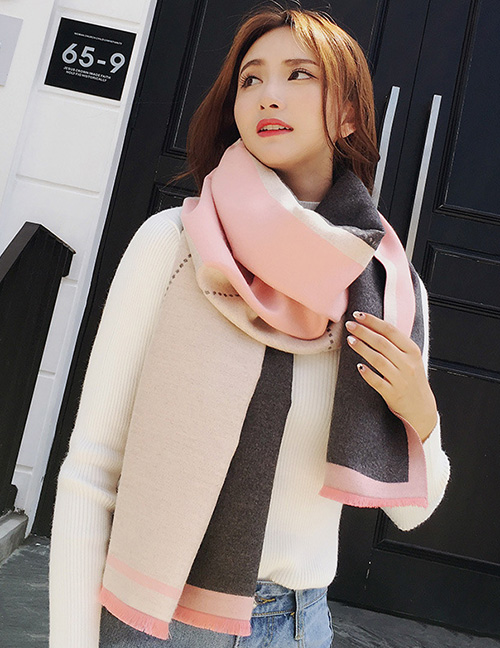 Fashion Dark Gray+pink Color Matching Decorated Dual Use Scarf