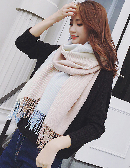 Fashion Light Blue Tassel Decorated Dual Use Scarf