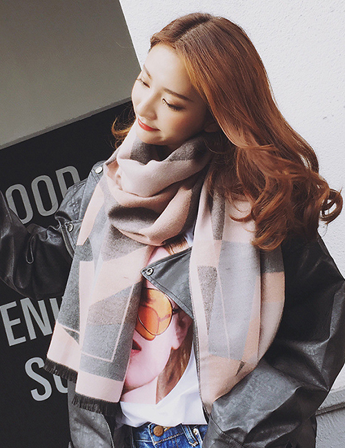 Fashion Pink+gray Geometric Shape Pattern Decorated Dual Use Scarf