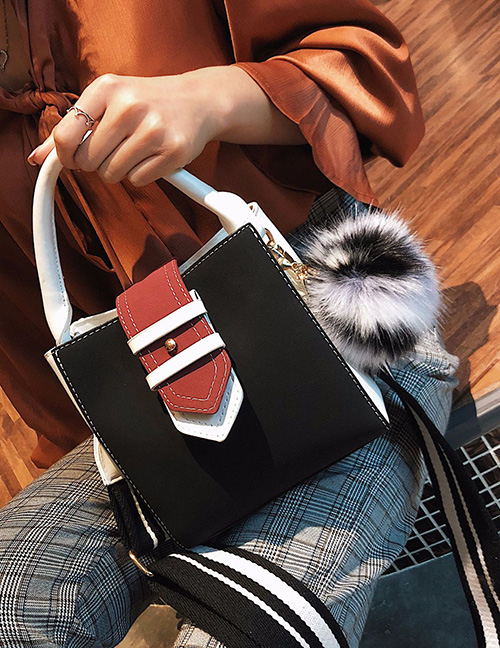 Trendy Black Fuzzy Ball Decorated Shoulder Bag