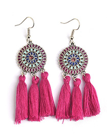 Bohemia Plum-red Color-matching Decorated Tassel Earrings