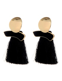 Fashion Black Round Shape Decorated Tassel Earrings
