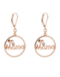 Fashion Gold Color Letter Pattern Decorated Pure Color Earrings