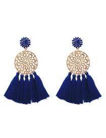 Fashion Sapphire Blue Hollow Out Flower Decorated Tassel Earrings