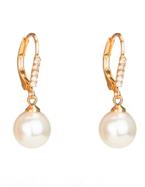 Fashion Gold Color Pearls&diamond Decorated Earrings