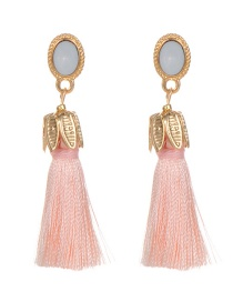 Bohemia Light Pink Oval Shape Decorated Tassel Earrings