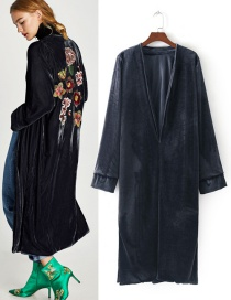 Fashion Navy Pure Color Decorated Long Cardigan