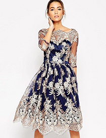 Elegant Sapphire Blue Embroidery Flower Decorated Dress