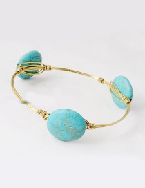 Vintage Light Blue Round Shape Decorated Bracelet