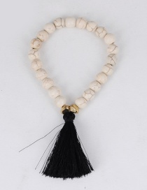 Elegant White+white Tassel Decorated Bracelet