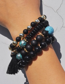 Bohemia Black Tassel Shape Decorated Multilayer Bracelet