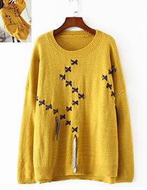 Vintage Yellow Bandage Shape Decorated Sweater