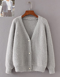 Vintage Gray Pure Color Decorated Knitting Cardigan