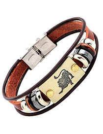 Personality Brown Leo Decorated Multilayer Bracelet