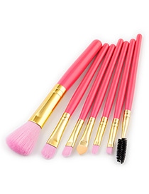 Fashion Pink Color-matching Decorated Brushes (7pcs)