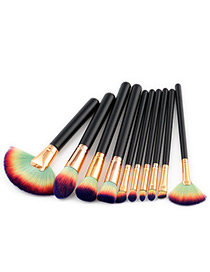 Fashion Navy+green Fan Shape Decorated Brushes (10pcs)