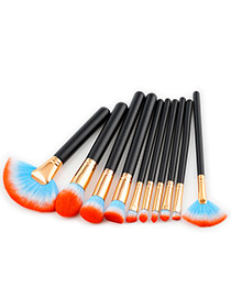 Fashion Orange Fan Shape Decorated Brushes (10pcs)