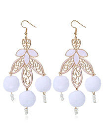 Elegant White Hollow Out Decorated Pom Earrings