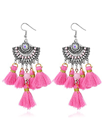 Bohemia Pink Fan Shape Decorated Earrings