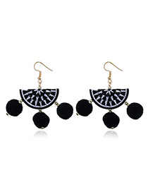 Vintage Black Fan Shape Decorated Tassel Earrings