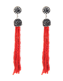 Bohemia Red Round Shape Decorated Long Tassel Earrings