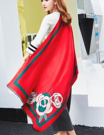Fashion Red Flower Shape Decorated Scarf