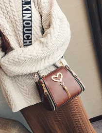 Lovely Brown Heart Shape Decorated Bag