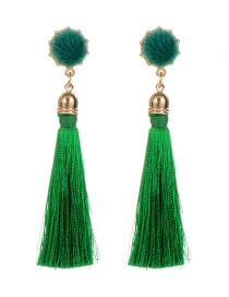 Fashion Green Fuzzy Ball Decorated Tassel Earrings