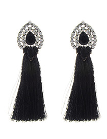Bohemia Black Oval Shape Decorated Earrings