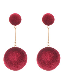 Elegant Claret-red Round Shape Decorated Earrings