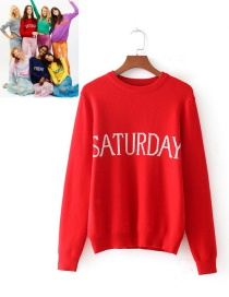 Retro Red Letter Shape Decorated Sweater