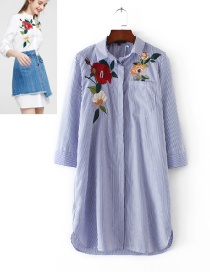 Fashion Blue Embroidery Flower Shape Decorated Long Shirt