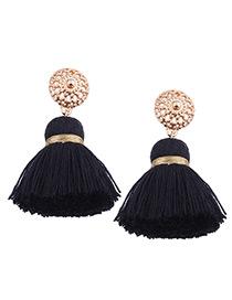 Bohemia Black Tassel Decorated Earrings