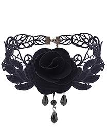 Vintage Black Rose Shape Decoratedlace Choker