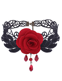Vintage Red Rose Shape Decoratedlace Choker