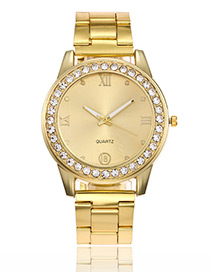 Fashion Gold Color Diamond Decorated Watch