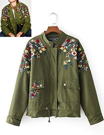 Fashion Olive Flower Pattern Decorated Long Sleeves Coat