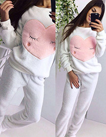 Fashion White Heart Shape Decorated Pajamas ( 2 Pcs )