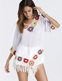 Fashion White Tassel Decorated Shirt