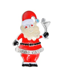 Lovely Red Santa Claus Shape Decorated Brooch