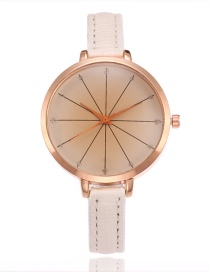 Elegant White Pure Color Decorated Thin Strap Watch