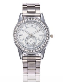 Fashion Silver Color Round Shape Diamond Decorated Watch