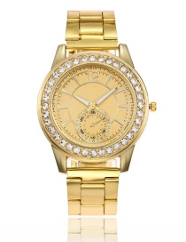 Fashion Gold Color Round Shape Diamond Decorated Watch